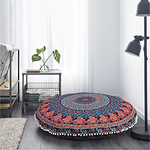 DARJII Elephant Pouf Cover Mandala Round Floor Cushion Cover Large Hippie Dorm Room Bohemian Pouf Cover Indian Meditation Seat Cover Yoga Seat Covers Hippy Boho Pillow Case 32 Inch
