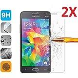 2 X Samsung Grand Prime Protecteur d'écran,Protection en Verre Trempé écran protecteur ultra résistant Glass Screen Protector pour Samsung Galaxy Grand Prime SM-G530F / Grand Prime VE Value Edition SM-G531F