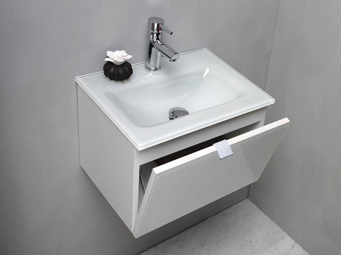 arredo bagno mobile bagno da cm 50 con lavabo/lavandino in vetro ... - Arredo Bagno Mobili Senza Lavabo