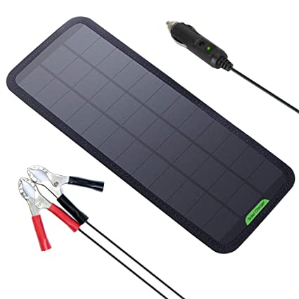 GIARIDE Solar Battery Charger Solar Trickle Charger 7.5W 18V 12V Sunpower Solar Panel Maintainer Backup for Car Boat RV Tractor Motorcycle and Auto ...