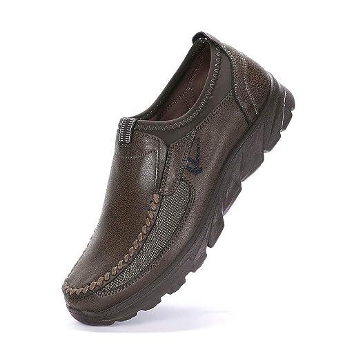 QinMM Mocasines Hombre Zapatos de Gamuza sintética Clásico Zapatos de Barco Retro Moda Zapatos Planos de Negocios para Caminar Slip on Loafers Sneaker: ...