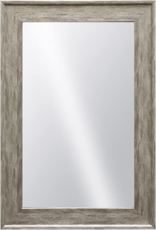 Vintage Distressed Wood Finish Hanging Framed Wall Mounted Mirror Classic Gray Raphael Rozen Modern White Color Elegant Rustic