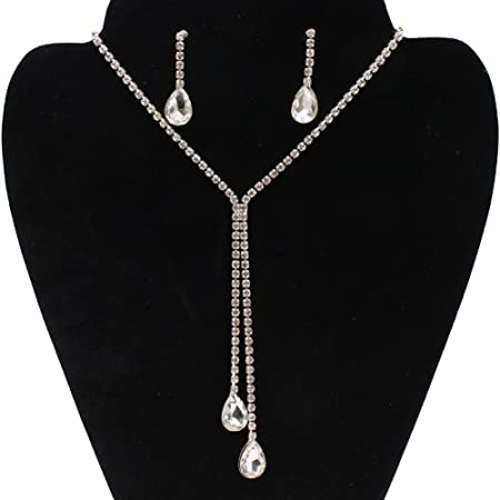 Yinew Women Charm Crystal Pearls Pendant Necklace Luxury Long Necklace Sweater Chains,Silver