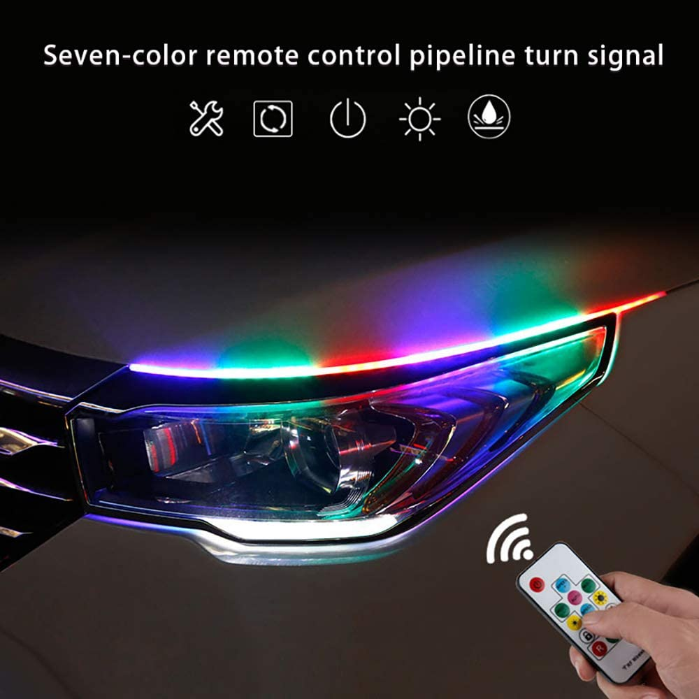 for Car Replacement Switchback Headlight Decorative Lamp Kits and Turn Signal Tube Lights Multi Color 2 Pcs 17.71 Inches Daytime Running Lights LED RGB Kit Waterproof Flexible Car Led Light Strip