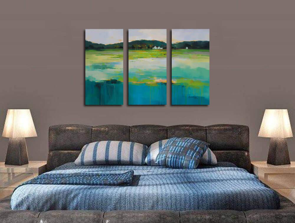 Canvas Wall Art Blue Ocean Seascape Painting Pictures Nature Landscape Birds Modern Artwork 16x32x3 Panels Stretched and Framed Large Size for Home Office Living Room Bedroom Bathroom D/écor