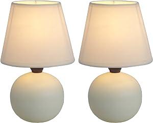 Simple Designs Home Mini Ceramic Globe Table Lamp, Off-White