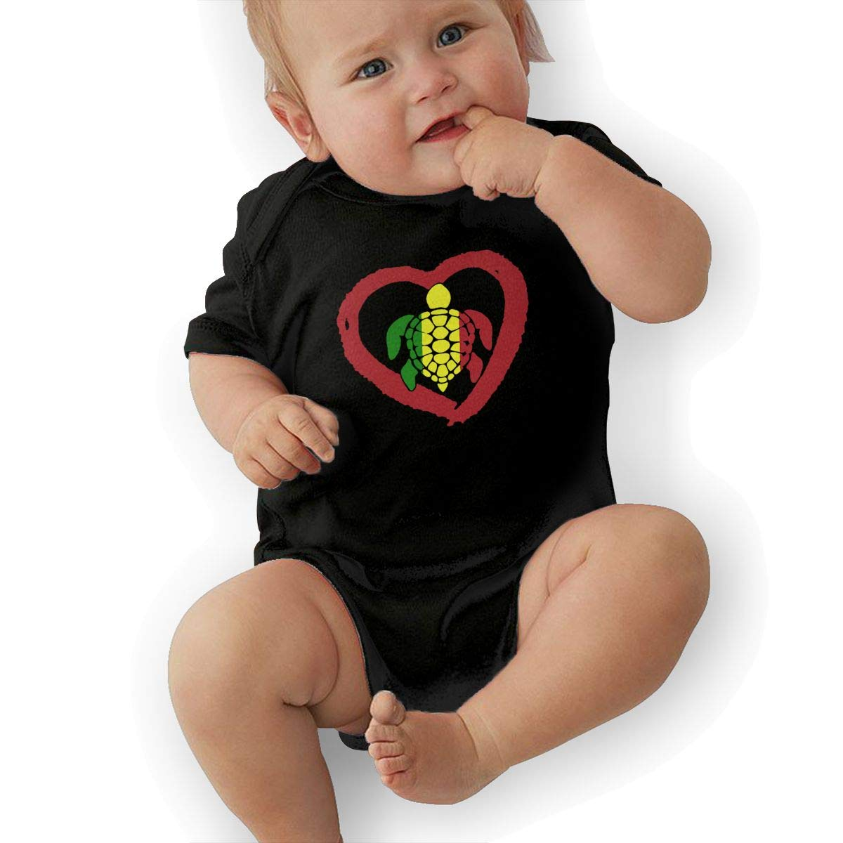 Soft Sea Turtle Rasta Reggae Heart Playsuit Short Sleeve Cotton Rompers for Baby Girls Boys