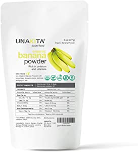 Unakita Organic Banana Fruit Powder, All Natural, Gluten-Free, Freeze-Dried, Raw, Vegan, No Fillers, Non-GMO, Source of Fiber & Vitamins, Super Food, Great Source of Protein for Smoothies (8oz).