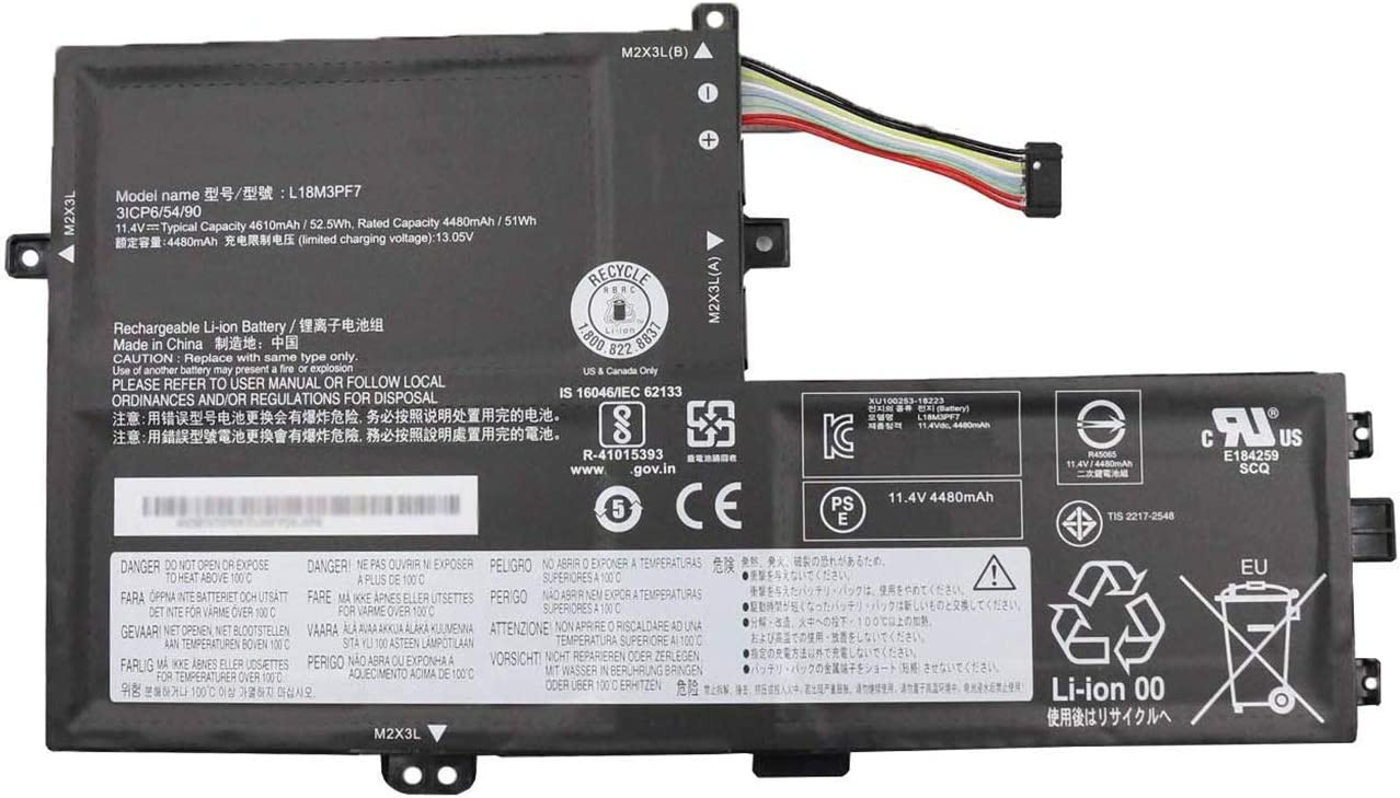 BOWEIRUI L18M3PF7 (11.4V 52.5Wh 4610mAh) Laptop Battery Replacement for Lenovo IdeaPad S340-14API S340-14IIL S340-14IML S340-14IWL S340-15API S340-15IIL Series L18C3PF6 L18L3PF2 L18M3PF6 L18L3PF3