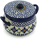 Polish Pottery 12 oz Bouillon Cup with Lid (Gangham Flower Chain Theme) + Certificate of Authenticity
