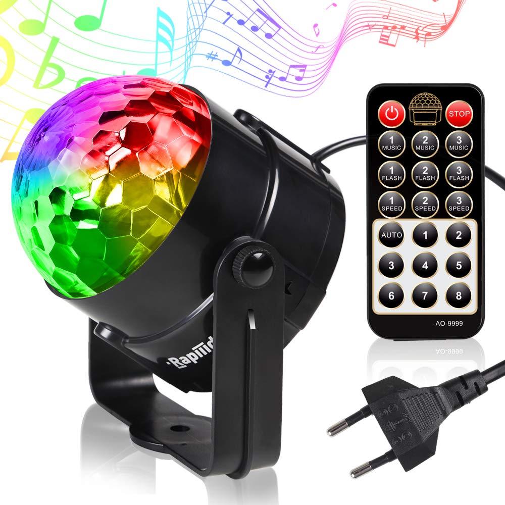 Rapiiido Mini Luces Discoteca 9 Colores LED RGWBV 3 Modos Cambiada por Mú sica y Control a Distancia para Fiesta, Boda, Navidad,etc