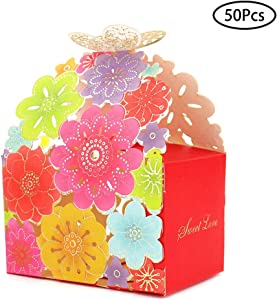 Kslong 50Pcs Flower Butterfly Hollow Candy Box Cookie Gift Boxes Romantic Wedding Favors Cute Chocolate Box for Wedding Bridal Birthday Party Supplies (Multicolor, L)