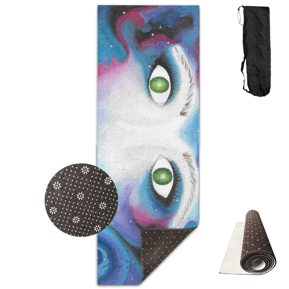 Starry Green Eye Wolf Yoga Mat 72X24 Inch Premium Print NonSlip EcoFriendly AntiTear Floor Pilates Exercise Mat for Yoga, Workout, Fitness with Carrying Strap