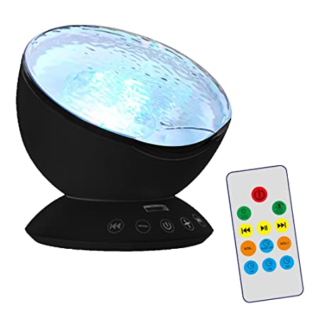 Gosear Proyector de Luces Nocturna de Océano Altavoz de Música Conectado Móvil MP3 Luz de Noche Sobremesa Negro