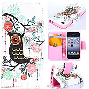 For iPhone 4 4S,Leather Flip Case for iPhone 4,Candywe Beautiful PU Flip Leather Case Cover With Stand For iPhone 4 4S 007