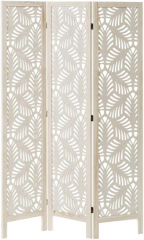 Biombo de Madera exótico Blanco Plegable Tallado de 120x170 cm ...