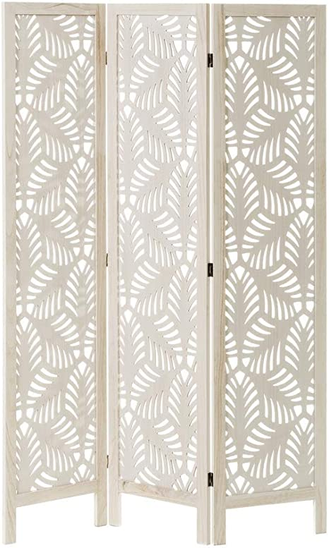 Biombo de Madera exótico Blanco Plegable Tallado de 120x170 cm - LOLAhome: Amazon.es: Hogar
