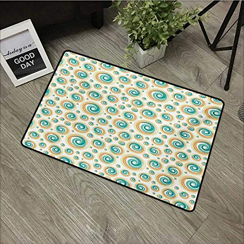(Bathroom mat W35 x L47 INCH Geometric Circle,Trippy Paint Brush Rotary Spiral Circle Pattern Hazy Blurry Tiles Picture,Teal Orange Non-Slip Door Mat Carpet)