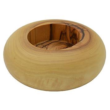 Teelichthalter Olivenholz Rund Gewölbt Kerzenhalter Holz Aus
