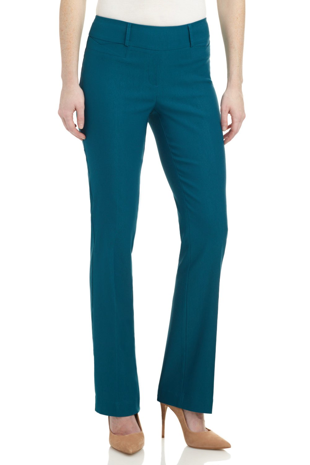 Rekucci Women's ''Ease In To Comfort Fit'' Barely Bootcut Stretch Pants (14,Teal)