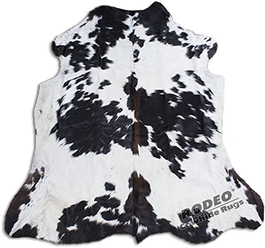 Real Cowhide Genius Leather Hair on Leather Rug by RODEO Decorative Value Size Approx 6X7 ft Black and White