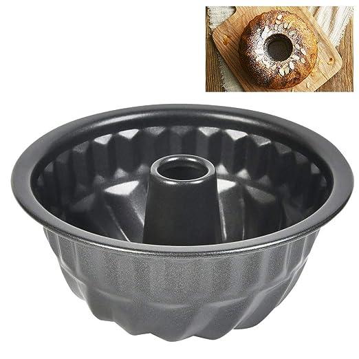 FOROREH Mini Molde Kouglof, Molde Savarin de Carbono de 11 CM, Molde Especializado Alsaciano, Molde para Pastel, Acero Inoxidable, Negro