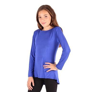 e81323a458d3 Lori&Jane Big Girls Royal Blue Solid Color Hi-Low Long Sleeved T-Shirt 8
