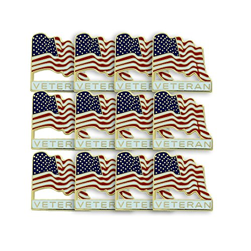Veteran American Flag Lapel Pin - Pack of 12 - 12pk Bagged
