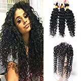 Deep Wave 360 Lace Frontal With 3 Bundles Brazilian Remy Human Hair Weave With Baby Hair Natural Hairline Looking Pre Plucked 150% Density 18 20 22 +16 (360)