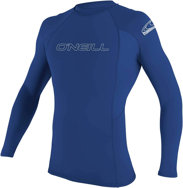 O'Neill Men's Basic Skins UPF 50+ Long Sleeve Rash Guard, Pacific, L: Clothing