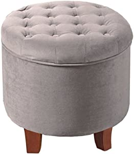 HomePop Velvet Button Tufted Round Storage Ottoman with Removable Lid, Gray