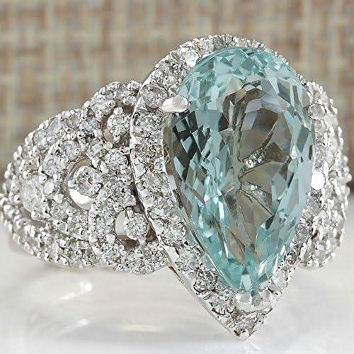 Fashion Women Aquamarine Gemstone Silver Wedding Ring Engagement Jewelry Sz 6-10