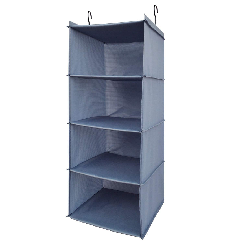 Aibrisk 4 Shelves Hanging Closet Organizer Collapsible Hanging Closet Shelves Storage Organizer Oxford Cloth, Gray