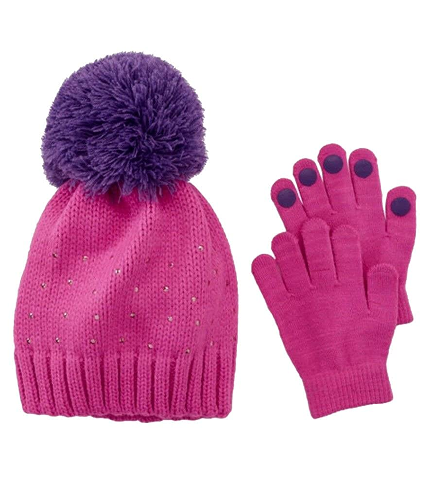 Girls Accessories Cold Weather Pink Purple Studs 2 Pc Hat & Gloves Size 4-16