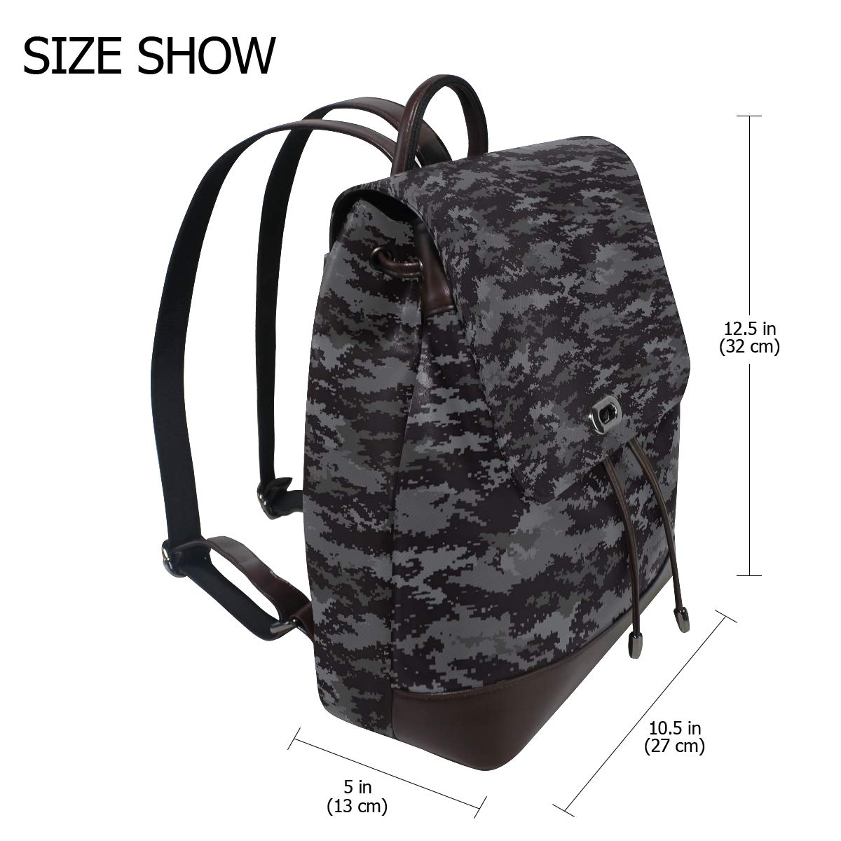 Unisex PU Leather Backpack Black Urban Camo Print Womens Casual Daypack Mens Travel Sports Bag Boys College Bookbag