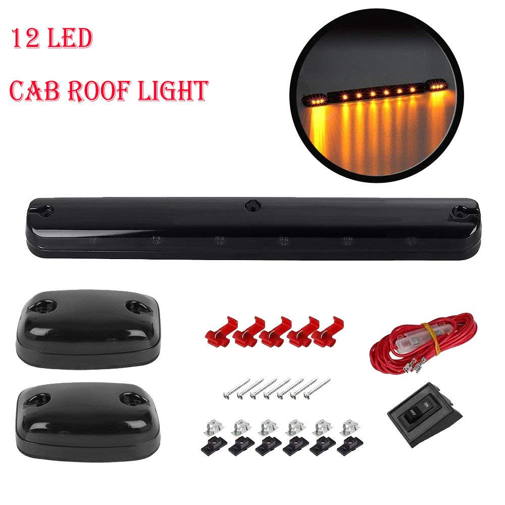 Ricoy 3pcs 12LED Smoked Cover Cab Roof Top Marker Running Lamps Amber 30 LED Lights +Wire Harness For 2007-2013 Chevy Silverado GMC Sierra 1500 2500 2500 HD 3500 3500 HD