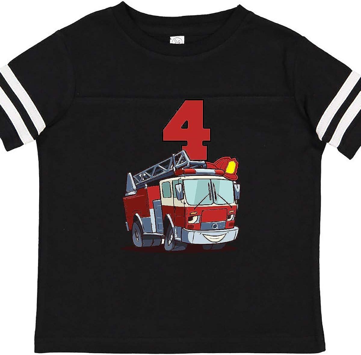 inktastic 4th Birthday Fire Truck Toddler T-Shirt