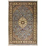Rugstc 6'0 x 9'4 Pak Persian Area Rug with Silk & Wool Pile - Floral Design | 100% Original Hand-Knotted in Greenish Blue,White,Beige Colors | a 6x9 Rectangular Double Knot Rug