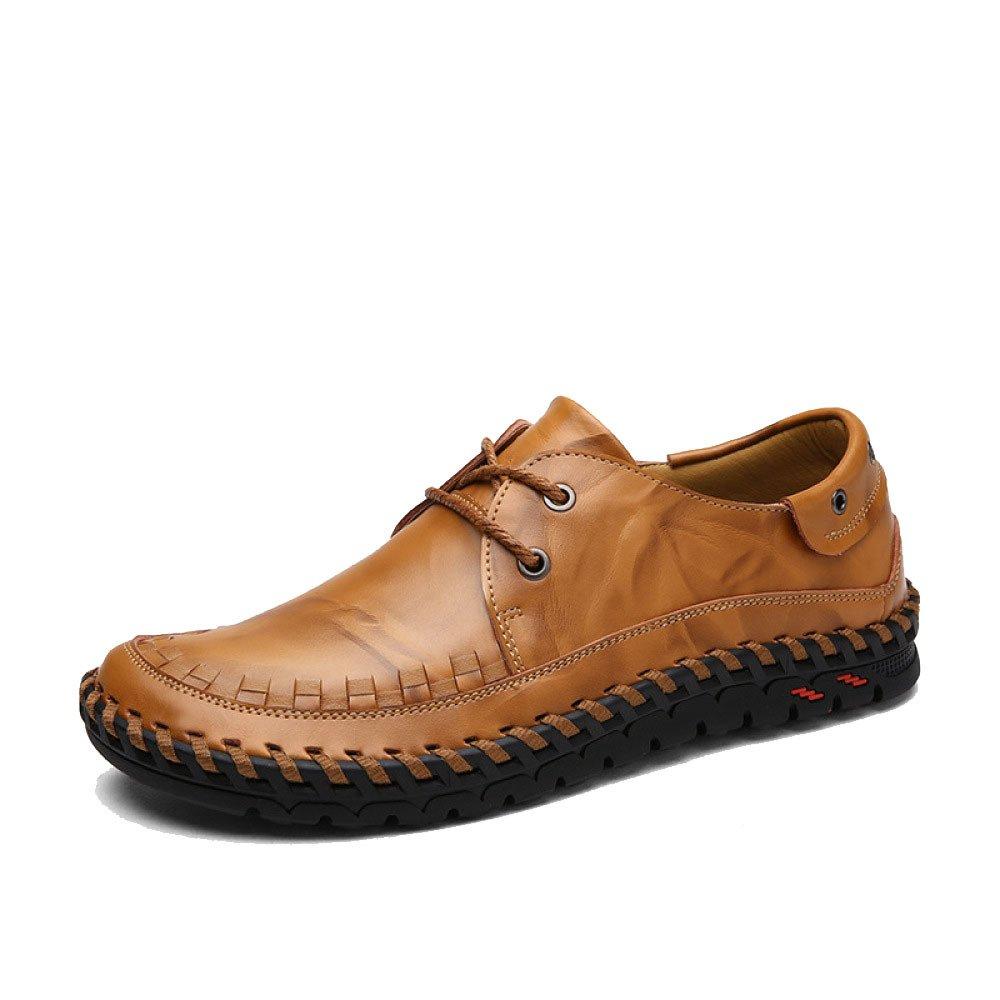 Hombres Casual Transpirable Negocios Moda Juventud Cordones Zapatos De Cuero 42 EU|Brown