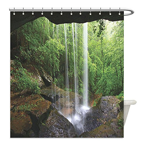 Liguo88 Custom Waterproof Bathroom Shower Curtain Polyester Natural Cave Decorations Still Waterfall in the Forest in Northern Alabama Habitat Ecosystem Scenery Decor Green Brown Decorative bathroo - Zelda Cave Dog Costume