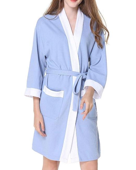 ZiXing Mujer Albornoz Primavera Verano Batas y Kimonos con Cinturón, Muy Suave Cómodo Fino Ligero y Agradable: Amazon.es: Ropa y accesorios