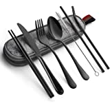 Cutlery Set, JR INTL Portable Stainless Steel Flatware Set, Travel Camping Cutlery Set, Portable Utensil Travel Silverware Dinnerware Set with a Waterproof Case (8-Pieces Flatware Set Black)