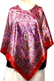 Indian Paisley Satin Silk Poncho Scarf Womens India Clothing (Red, One size)