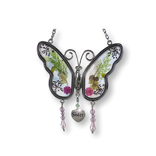 BANBERRY DESIGNS Sister Butterfly Suncatcher With Pressed Flower Wings