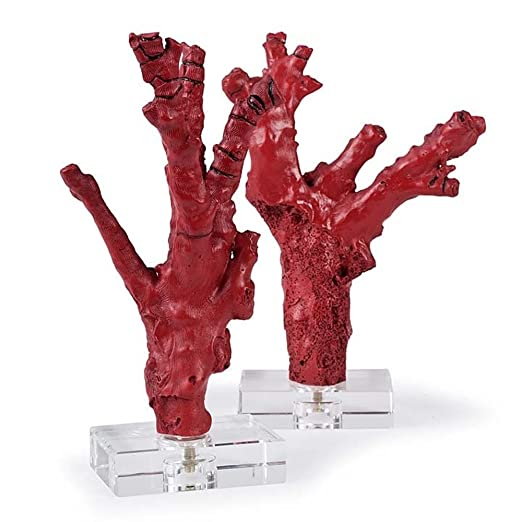 Christmas Tablescape Decor - Red coral branches on crystal bases tabletop home decor - Set of 2