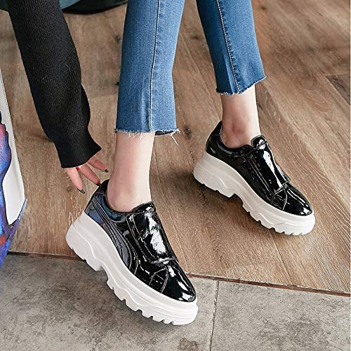 Summer Spring Creepers Round Women's Black amp; Gray Shoes Comfort Grey Toe ZHZNVX Leather Sneakers wXtqZxRR