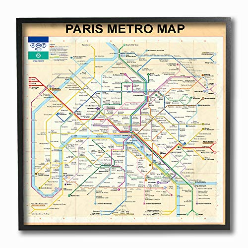The Stupell Home Décor Collection Neutral Tan Travel Paris Metro Subway Map Framed Giclee Texturized Art, 12 x 12, ()