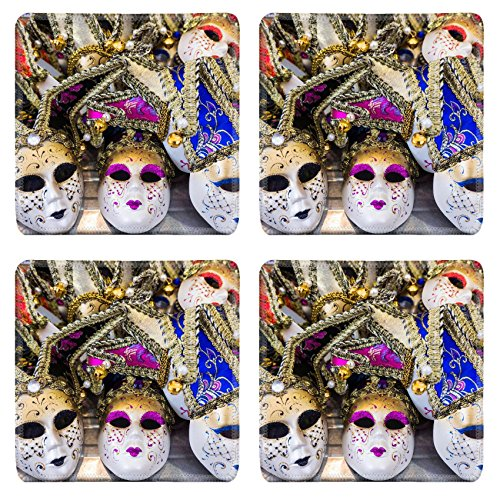 Cultural Costumes Of Italy (Luxlady Natural Rubber Square Coasters IMAGE ID: 35896176 Venetian masks Masks in Venice Italy)