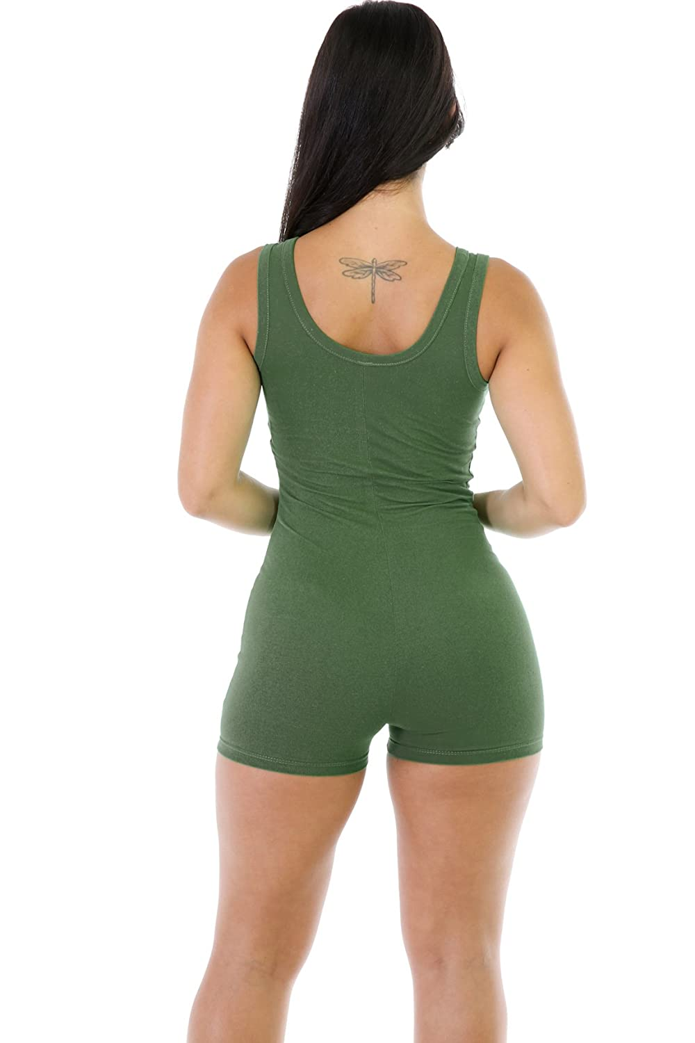 cb5737f3ee82 Amazon.com  JIMUJIMU Women s Sexy Sleeveless Tank Tops Short Romper Sports  Jumpsuit Bodysuit One Piece Short Catsuit  Clothing