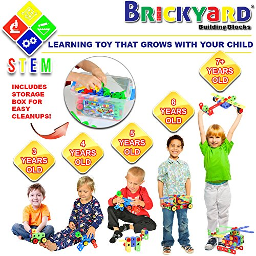 101 Piece STEM Toys Kit | Educational Construction Engineering Building Blocks Learning Set for Ages 3 4 5 6 7 8 9 10 Year Old Boys & Girls by Brickyard | Best Kids Toy | Creative Games & Fun Activity